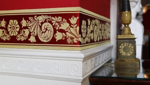 New wall fabric in the Red Room of the White House