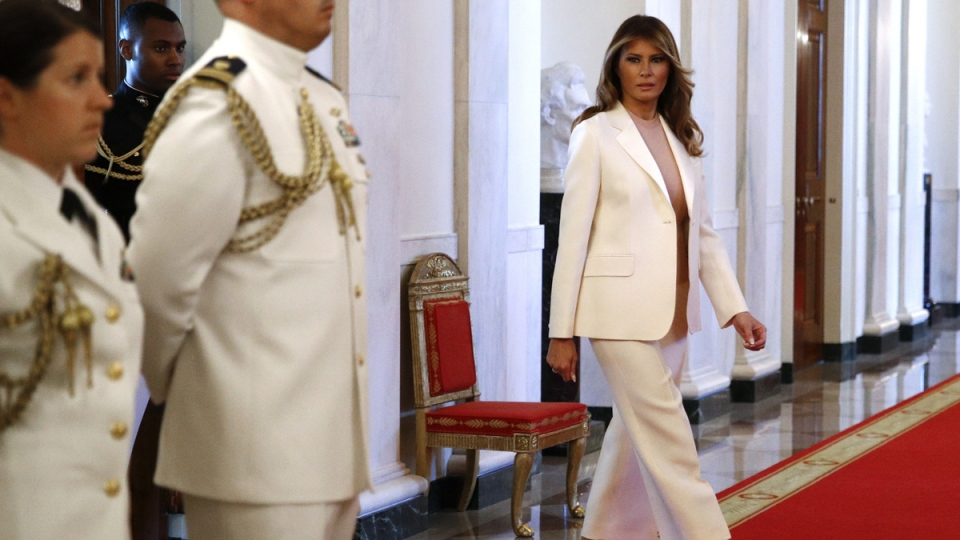 First lady Melania Trump walks to a ceremony in the East Room of the White House, on Sept. 16, 2019. (Patrick Semansky / AP)