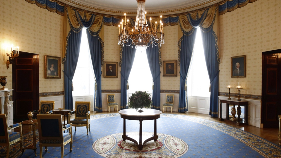 Restored furniture in the Blue Room of the White House in Washington, seen on Sept. 17, 2019. (Patrick Semansky / AP)
