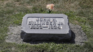 The headstone of John Dillinger is seen at Crown Hill Cemetery in Indianapolis, on Aug. 1, 2019. (Darron Cummings / AP)
