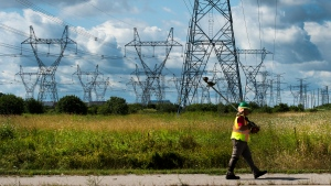 A worker walks past rows of power lines with his weed whacker in Mississauga, Ont., on Monday, August 19, 2019. (THE CANADIAN PRESS / Nathan Denette)