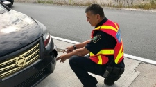 MTO conducting roadside vehicle fitness inspection (supplied)