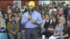WATCH: Federal NDP Leader Jagmeet Singh tells Sudbury audience how he would like to make life more affordable for Canadians.