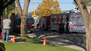 Avenue B South and 39th Street was blocked off Wednesday morning after a person reported they had found an unknown substance. (Brent Galbraith/CTV Saskatoon)