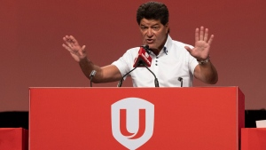 Unifor national president Jerry Dias speaks at the Unifor union annual convention, Monday, August 19, 2019 in Quebec City. (THE CANADIAN PRESS / Jacques Boissinot)