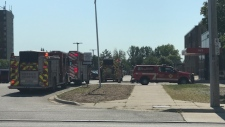 Fire crews are seen at Saunders Secondary School in London, Ont. on Wednesday, Sept. 18, 2019. (Steve Young / CTV London)
