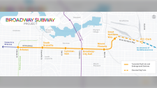 A map from the B.C. Ministry of Transportation shows the locations of six stations on the Broadway Subway line.