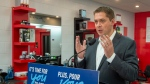 Federal Conservative leader Andrew Scheer speaks at a campaign event in Hamilton, Ontario on Wednesday September 18, 2019. The federal Conservatives say they can find $1.5 billion in savings each year by eliminating some of the federal funding received by businesses. THE CANADIAN PRESS/Frank Gunn