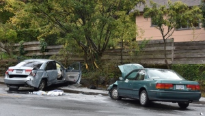 The vehicles involved in the collision are described as a grey 2008 Hyundai Sonata and a green 1993 Honda Accord. (VicPD)