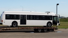 "A picture of one of the city's first new ""test"" electric buses was posted to Reddit Wednesday. The buses aren't expected to go into service until mid-2020. (Reddit)"