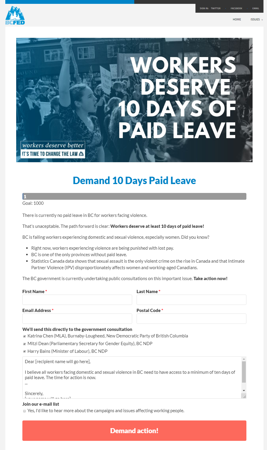 A screen shot shows a web page set up by the BC Federation of Labour asking visitors to send messages to the BC NDP demanding workers facing violence get at least 10 days of paid leave.