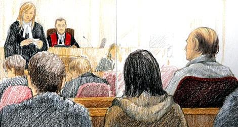 An artist's sketch shows Robert Pickton facing Chief Justice James Williams. (CP / Jane Wolsak)