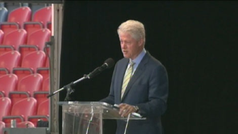 Former U.S. President Bill Clinton speaks to a crowd of about 10,000 at the CNE on Saturday, August 29, 2009.