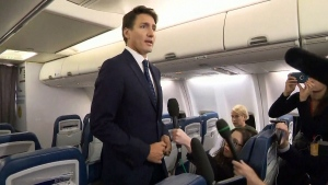Liberal Leader Justin Trudeau speaks to reporters about a photo from 2001 of him in blackface makeup. (CTV News)