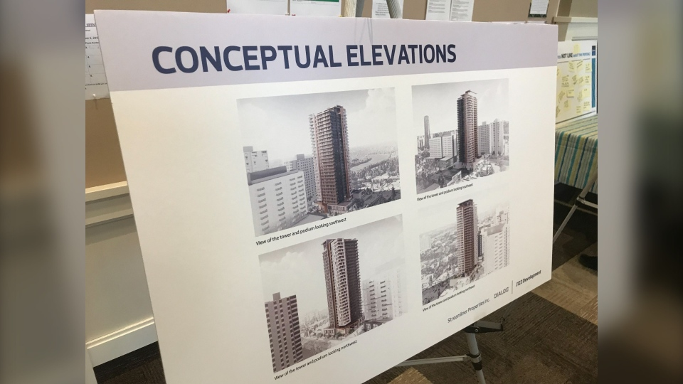 Concept art for proposed tower in Oliver neighbourhood. Wednesday, Sept. 18, 2019 (CTV News Edmonton)