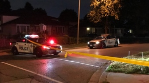 Police are seen on Dolly Varden Boulevard in Scarborough after a stabbing on Sept. 19, 2019. (Mike Nguyen/CP24)
