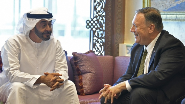 Pompeo, right, meets with bin Zayed al-Nahyan