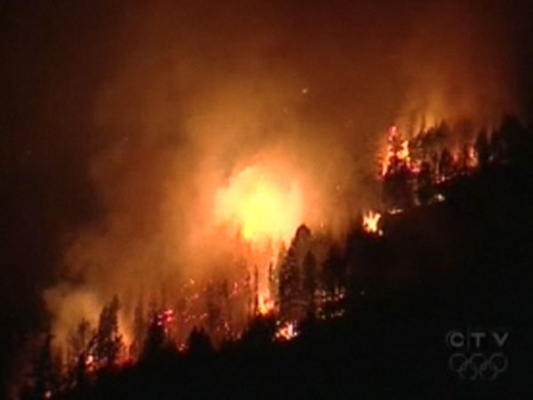 The Martin Mountain fire near Pritchard, B.C., east of Kamloops, has scorched 1,400 hectares. August 29, 2009.