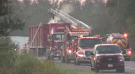 Emergency crews respond to a tractor trailer fire in Puslinch.