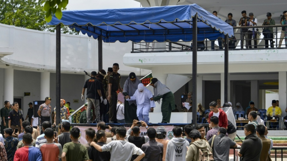 Public floggings are routine in Indonesia's conservative province of Aceh. (AFP)