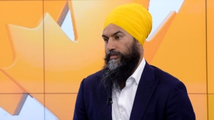 NDP leader Jagmeet Singh takes part in a morning show interview during a campaign stop in Toronto, Thursday September 19, 2019. THE CANADIAN PRESS/Adrian Wyld