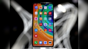 The new 'Huawei Mate 30' of China's smartphone manufacturer Huawei is displayed during an event in Munich, Germany, on Sept. 19, 2019. (Matthias Schrader / AP)