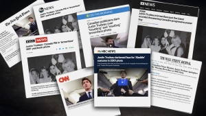 A combination of international newspapers covering Liberal Leader Justin Trudeau's racist photo scandal.