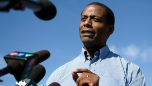 Greg Fergus, Liberal candidate for Hull-Aylmer and chair of the black caucus in Parliament, speaks to reporters during a press conference in Ottawa on Thursday, Sept. 19, 2019. THE CANADIAN PRESS/Justin Tang