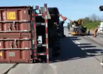 OPP say the transport truck was carrying decking supplies at the time of the crash. (Twitter/ @OPP_HSD)