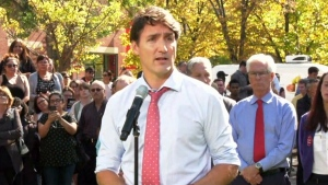 Liberal Leader Justin Trudeau addresses the media on Sept. 19, 2019.