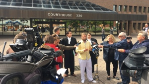 David Stephan speaks outside the Lethbridge courthouse on September 19, 2019 after he and his wife were acquitted
