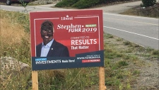 Stephen Fuhr, the Liberal candidate in Kelowna-Lake Country posted on his Facebook page that the vandalism took place overnight. (Stephen Fuhr/Facebook)
