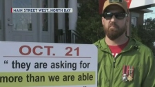 Injured Afghanistan veteran protests in North Bay