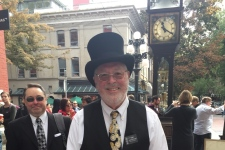 The prominent clockmaker behind Gastown's iconic steam clock was injured on the job. Raymond Saunders can be seen in this photo provided by the GoFundMe page set up for him.