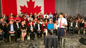 Justin Trudeau speaks at a town hall in Saskatoon on Sept. 19, 2019. (Laura Woodward/CTV Saskatoon)