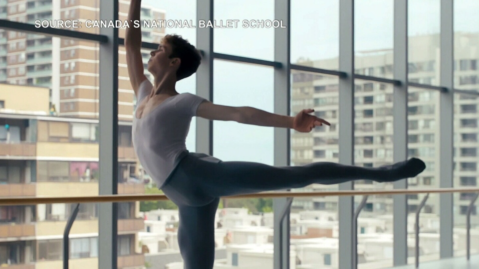Benjamin Alexander practicing ballet at the National Ballet School (Canada's National Ballet School)