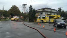 A fire in an apartment building on Heywood Avenue sent a man to hospital for smoke inhalation Thursday afternoon. (CTV Vancouver Island)