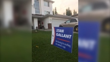 "Stan Gallant said he put up a yard sign reading, ""Not running for anything. Just wanted a sign,"" to lighten the mood surrounding the federal election campaign. (Courtesy: Stan Gallant)"