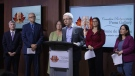 Dr. Sandy Buchman, centre, President of the Canadian Medical Association, holds a news conference in Ottawa, Thursday, September 19, 2019. Eight health organizations are calling for urgent action from the federal government to treat vaping like smoking. THE CANADIAN PRESS/Fred Chartrand.