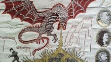 In this photo taken Wednesday, Sept. 18, 2019, a detail of the 'Game of Thrones' tapestry is pictured in Bayeux, Normandy, France. The 'Game of Thrones' tapestry depicts major scenes from all eight seasons of the hit TV series in 87 meters of embroidery. (AP Photo/Kamil Zihnioglu)