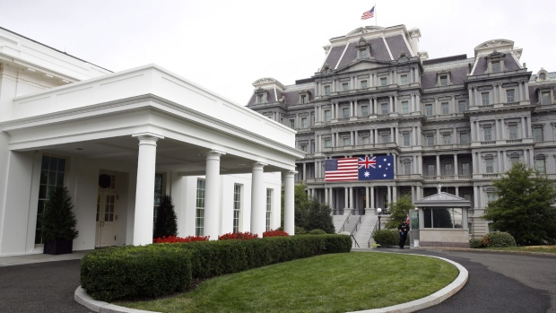 American, Australian flags hang at the White House