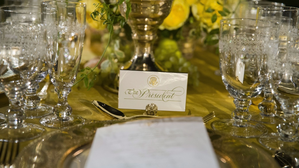 A table is set during a media preview for the State Dinner with U.S. President Donald Trump and Australian Prime Minister Scott Morrison in the Rose Garden of the White House, on Sept. 19, 2019. (Alex Brandon / AP)