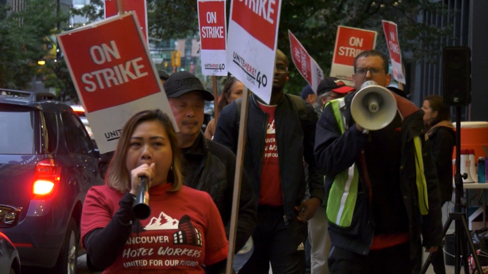 Hundreds of hotel workers went on strike in downtown Vancouver Thursday.