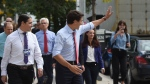 Liberal Leader Justin Trudeau waves as he mainstreets in downtown Winnipeg on Thursday, Sept.19, 2019. (THE CANADIAN PRESS/Sean Kilpatrick)