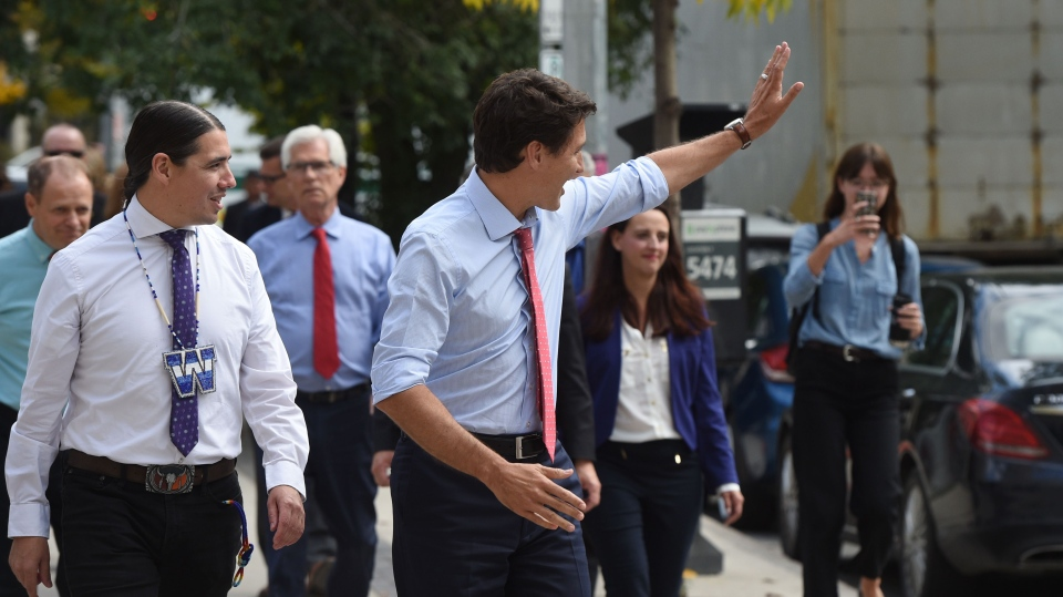 Liberal Leader Justin Trudeau waves