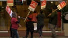 Hotel workers on strike in downtown Vancouver.