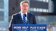 Conservative leader Andrew Scheer makes a campaign announcement in Saint John, N.B. on Friday, Sept. 20, 2019. THE CANADIAN PRESS/Frank Gunn