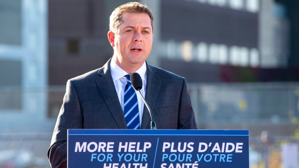 Conservative leader Andrew Scheer makes a campaign announcement in Saint John, N.B. on Friday Sept. 20, 2019. THE CANADIAN PRESS/Frank Gunn