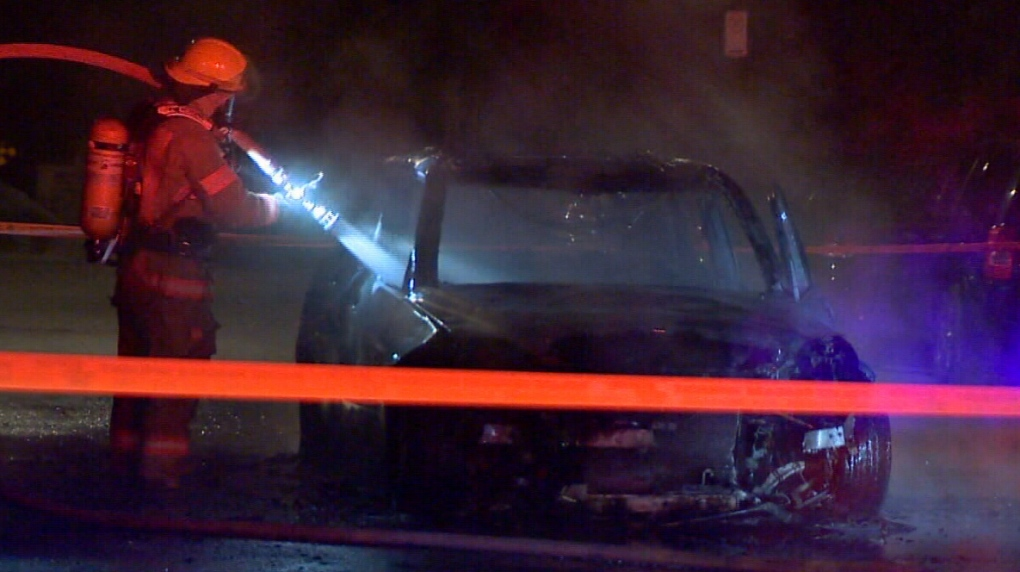 The arson squad is investigating a torched car in St-Henri