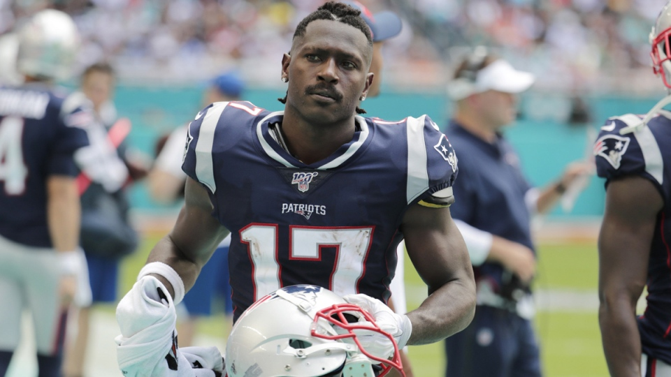 New England Patriots wide receiver Antonio Brown on the sidelines in Miami Gardens, Fla., on Sept. 15, 2019. (Lynne Sladky / AP)